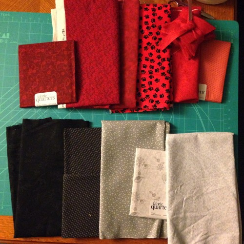 Five shades of gray/black/white, six shades of red.